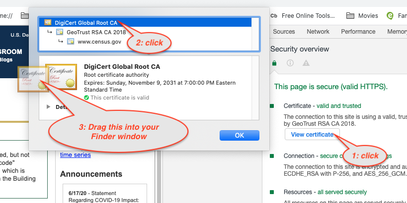 Get an SSL Root Cert on Chrome on Mac OS